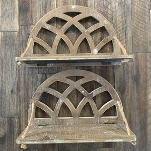 2 Pack! Arched Wood Wall Shelves
